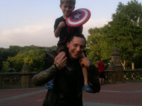 Taken by Edison's mom on the set of the avengers